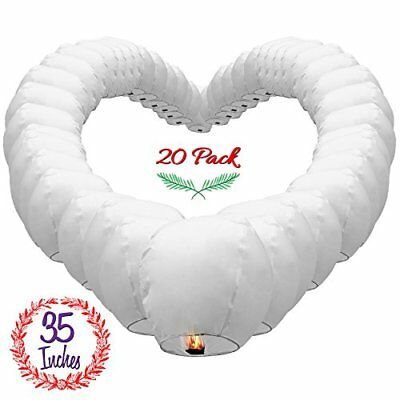 Chinese Sky Lanterns White Paper 20 Pack Ready to Use and Eco Friendly Extra for