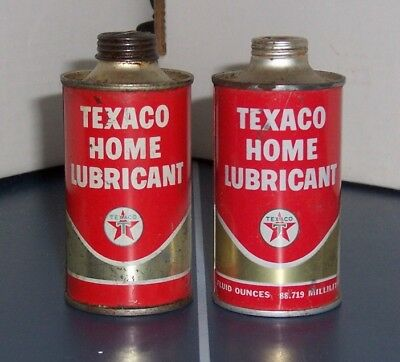 Set of 2 Different Vintage Texaco Home Lubricant Cone Top Cans