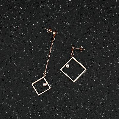 Women Earrings Square Drop Link Chain Rose Gold Anti-allergy Pearl Metal Jewelry