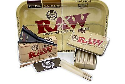 Raw King Size Cones ( 15 count) + Raw Loader + Raw Rolling Tray+Raw Metal Tin