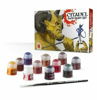 WARHAMMER CITADEL Base Paint set Warhammer Sigmar 40K NEW 11 paints set brush