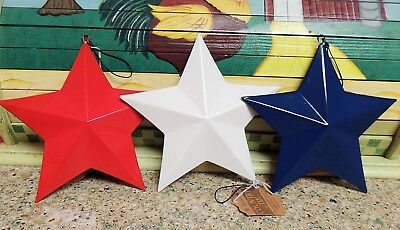 Set of 3 PATRIOTIC Americana Metal BARN STAR ORNAMENTS Glossy RED WHITE BLUE 3-D