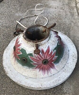 Vtg Antique 1920s Cast Iron Lighted Christmas Tree Stand Electric Outlets