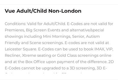 X2 Non-London Vue Cinema Tickets E-Codes 2D (Valid For 12 Months)