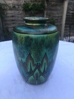 Clewes & Co Art Deco Vase Flame Green Brown Excellent Condition