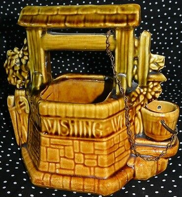 """1950's McCoy USA Ceramic WISHING WELL on it """"Oh Wishing Well Grant A Wish To Me"""""""
