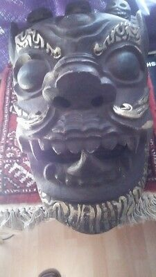 Tibet China Old Mask Carved Wood gold painting. From my personal collection