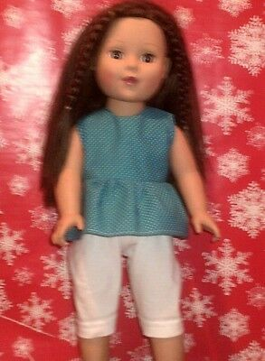 "18"" doll clothes-fits American Girl Boy  My Life-Top/Capri-Lt Blue Dot White"