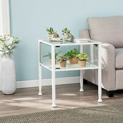 Cct27988 White Metal / Glass Display End Table With Door