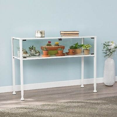 Cct37988 White Metal / Glass Display Console Table With 2 Doors