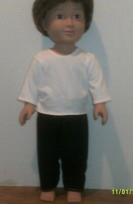 "18"" doll clothes-fits American Girl Boy My Life-Top/Pants-Black White"