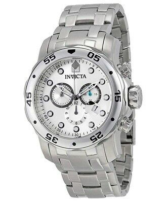 Invicta Men's 48mm Pro Diver Scuba Chronograph Silver Tone Silver Dial SS Watch