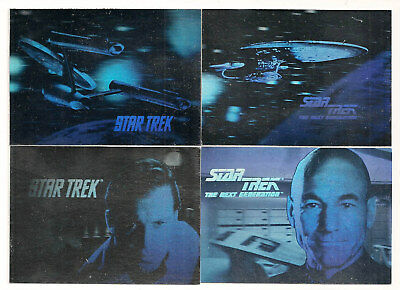 Star Trek Hologram Set ( 4 Cards ) 1991 Impel   Captain Kirk and Picard + Ships