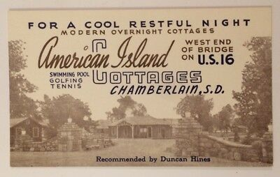 Distances from American Island Cottages Chamberlain SD Advertising Card