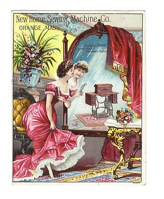 New Home Sewing Machine Co.Trade Card Woman Looking in Mirror Orange, Mass