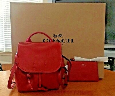 Authentic Coach Derby Backpack Crossbody 2 In 1 Handbag & Matching Wallet New