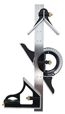 "Combination Tri-Square Set 12"" Stainless Steel Rule 180 Degree Protractor Tools"