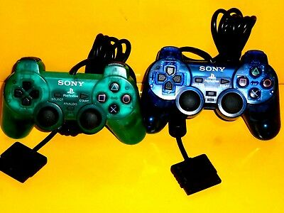 Lot of 2 Authentic Official Sony Brand PlayStation 2 DualShockClear Blue & Green