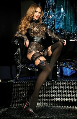 BALLERINA Luxury Fine Sheer Lace Top Patterned Hold Ups Black Blue S M L XL 443