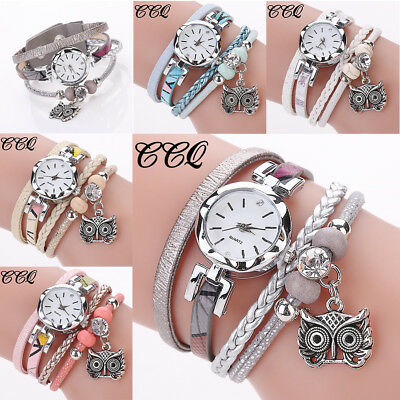 Fashion Women Girls Owl Pendant Dangle Ladies Dress Bracelet Analog Quartz Watch