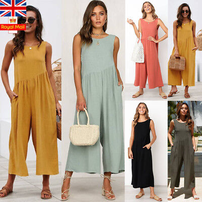 UK Women Backless Jumpsuit Ladies Wide Leg Trousers Sleeveless Playsuit Romper
