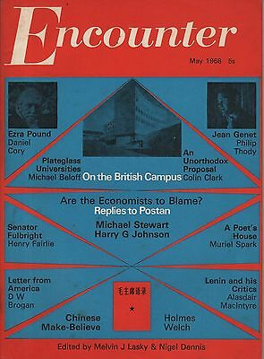 ENCOUNTER MAGAZINE(May 1968)-EZRA POUND-JEAN GENET-MURIEL SPARK/THE POET'S HOUSE