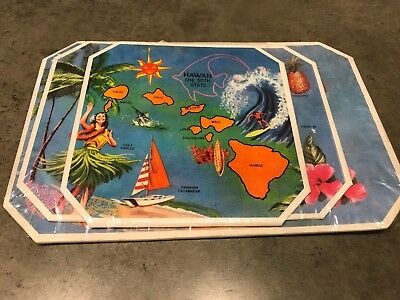 Vintage Hawaii Souvenir Hot Dish Mats Set Of 3 The 50th State Made in Hawaii