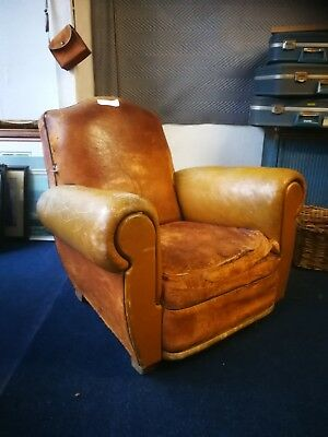 Antique Deco French Vintage Brown Tan Leather Club Arm Chair Rustic Chesterfield