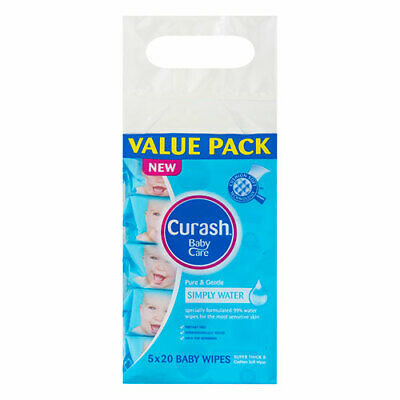 NEW Curash Babycare Simply Water Baby Wipes Travel - 5 x 20 Pack