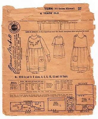 "Vintage Sewing Pattern 1920s McCall 9210 Girl's Dress Size 4 Years, 23"" Breast"
