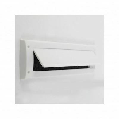 WHITE Exitex Letterbox Draught Excluder Seal with Brush & Flap Brown Plastic NEW