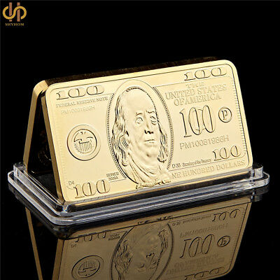 1 OZ Gold Bar Franklin States of America 100 Dollars Souvenir FREE SHIP USA