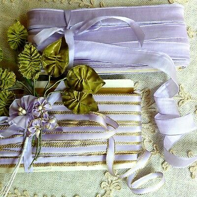 Antique French Tissue and Gold Metal edged ribbons