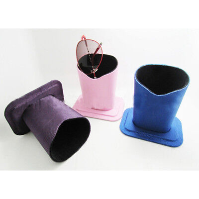 Eyeglass Holder Plush Lined Case Soft PU Leather Glasses Desktop Stand G