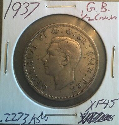 1937 Great Britain Silver 1/2 Crown