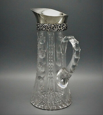 TIFFANY AND CO CRYSTAL AND STERLING SILVER WATER PITCHER / CARAFE, 19th CENTURY
