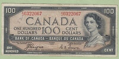 1954 Bank of Canada 100 Dollar Note Devil's Face - Coyne/Towers -A/J0322067-Fine