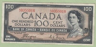 1954 Bank of Canada 100 Dollar Note Devil's Face - Coyne/Towers -A/J0355016 - VF