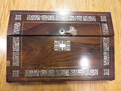 Rare Regency Period Fancy Large Wooden Lap Desk M.o.p. Inlay & Key