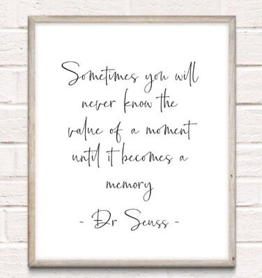 Dr Seuss Memory Typography Print Poster Unframed Quote Home Family Love