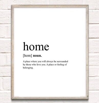 Home Definition Typography Print Poster Family Cosy Unframed Home Quote