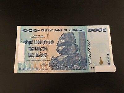 Zimbabwe 100 Trillion Dollar $ AUNC 2008 AA Banknote/LIMITED TIME