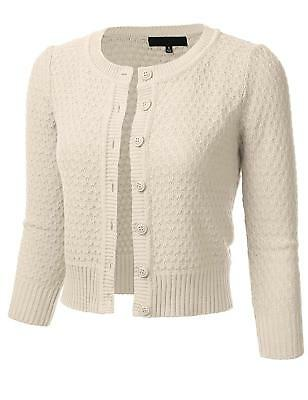 FLORIA Womens Button Down 3 4 Sleeve Crew Neck Cotton Knit Cropped Cardigan 7818febce