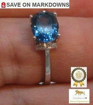 3.5 ct NATURAL LONDON BLUE TOPAZ SILVER RING