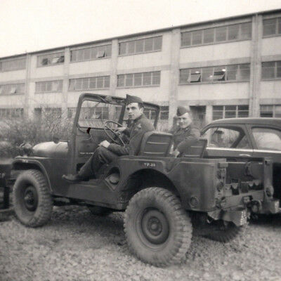 SOLDIERS SITTING IN US Army Jeep Old Photograph 1950s Willys Military