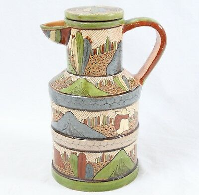 "Incredible 40s/50s Vintage Tlaquepaque Mexican Pottery 10"" Pitcher Cactus Siesta"
