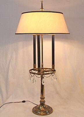Rare Stiffel Mid Century Bouillotte Brass Glass Prism Table Lamp Vintage Shade