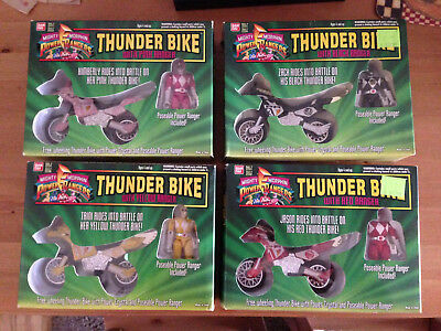 Mighty Morphin Power Rangers Thunder Bike Lot Red Black Pink Yellow Ranger MMPR
