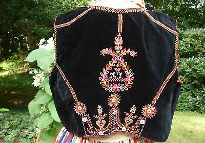 Antique 1912 Czech Moravian Kroj Embroidery Men Velvet Vest Boho Peasant Ethnic