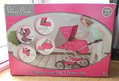 New Pink 5In1 Rrp£120 Silver Cross Sleepover Set Pram Buggy,bed,playmat,pushchai